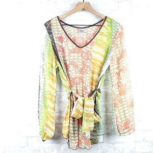 Johnny Was sheer floral Blouse | Size M